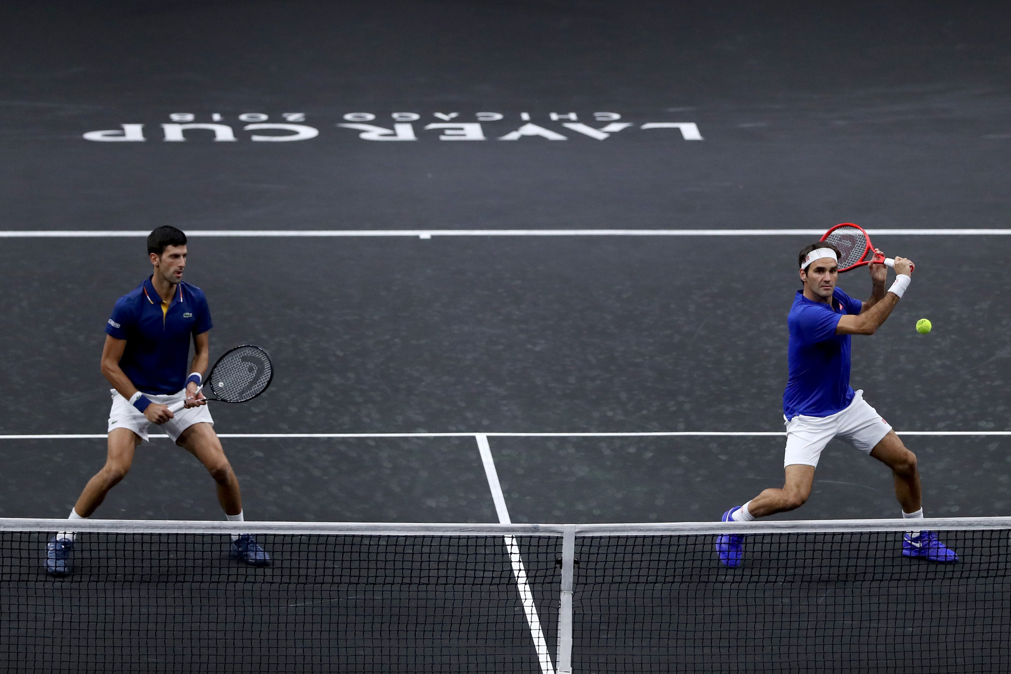 Novak Djokovic and Roger Federer formed a doubles pairing at the Laver Cup ©Getty Images