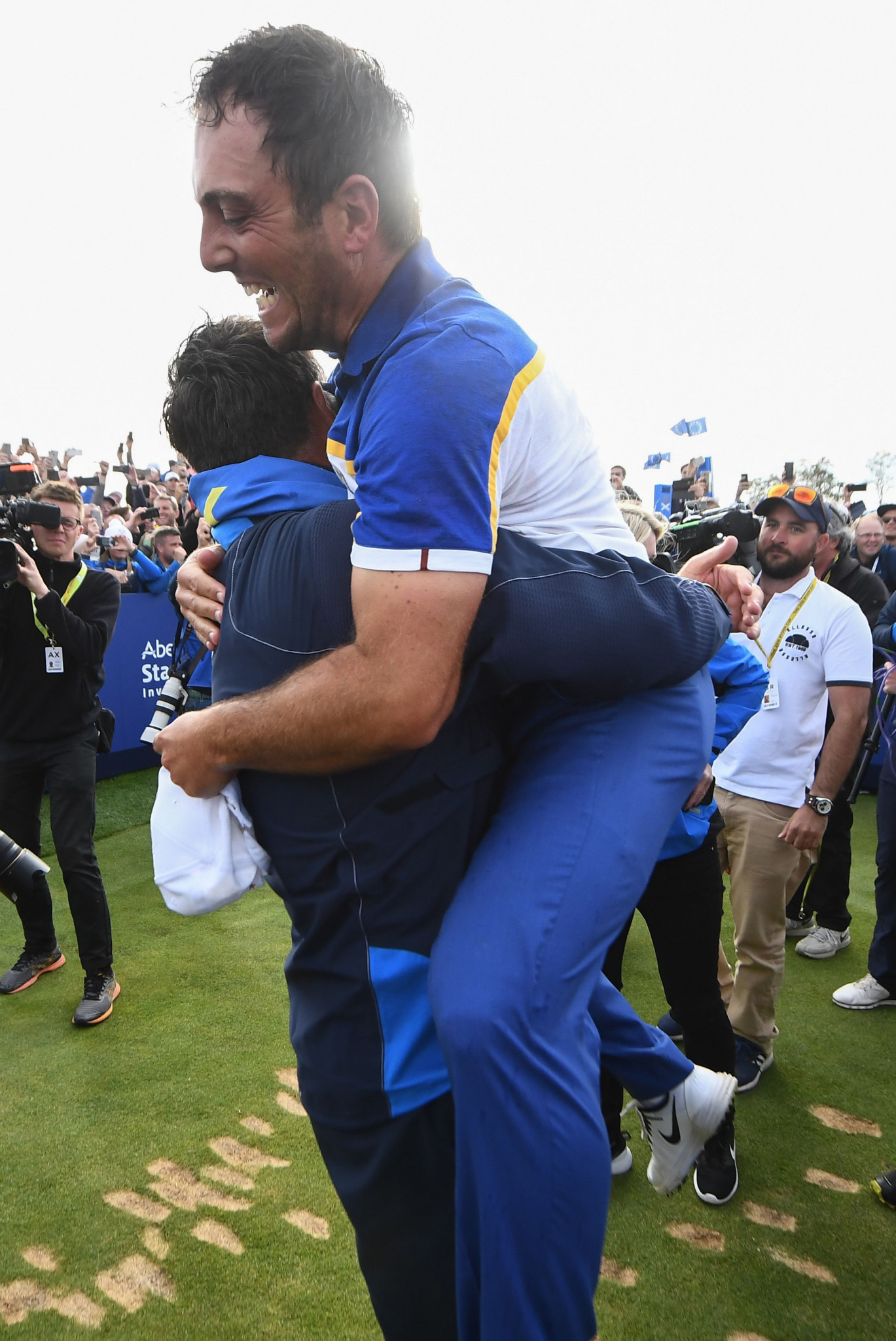 Italy's Francesco Molinari celebrates after scoring the decisive singles victory which meant Europe regained the Ryder Cup from the United States in Paris ©Getty Images