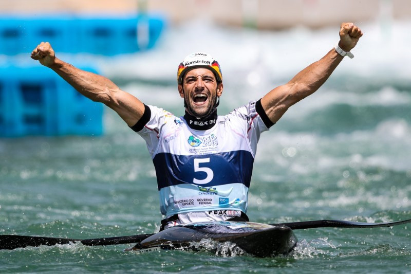 Germany's Hannes Aigner won his first world title in the men's K1 event and his country's first for over a decade ©ICF