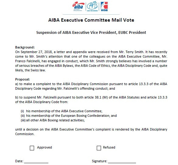 AIBA executive vice-president Franco Falcinelli could be suspended folloiwng a row which has broken out in the world governing body's Executive Committee over the election of a new President ©ITG