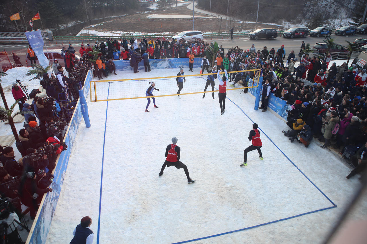 An exhibition snow volleyball event was held at the Pyeongchang Winter Olympics to showcase the sport ©Getty Images