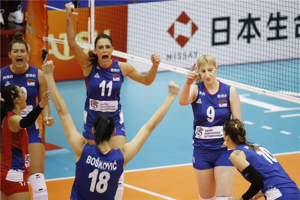 Serbia were victorious against unbeaten Brazil at the FIVB Women's Volleyball World Championships in Japan ©FIVB