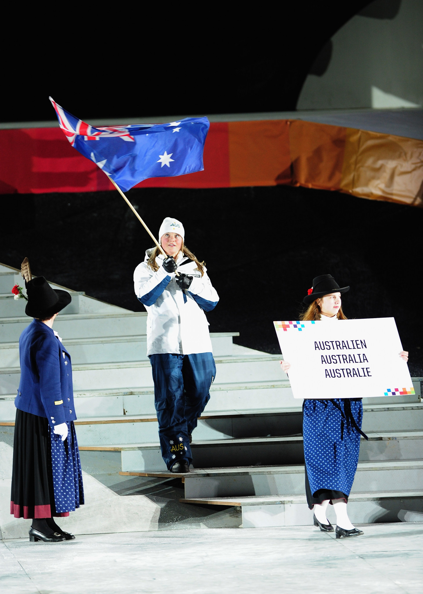 Keely Small's cousin, Alpine skier Greta Small, carried Australia's flag during the Opening Ceremony of the Winter Youth Olympic Games in Innsbruck in 2012 ©Getty Images