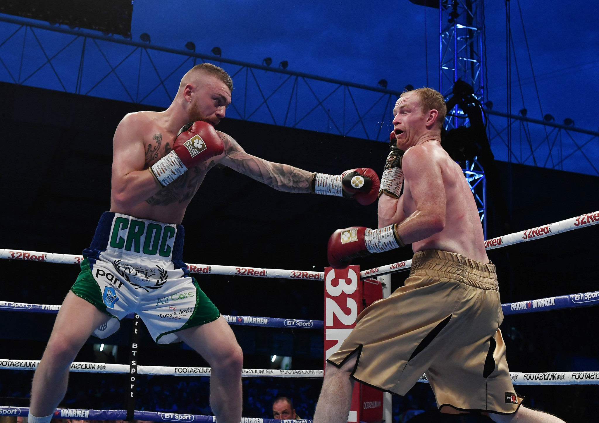 Lewis Crocker, left, is now a promising professional boxer and has won his first four fights ©Getty Images