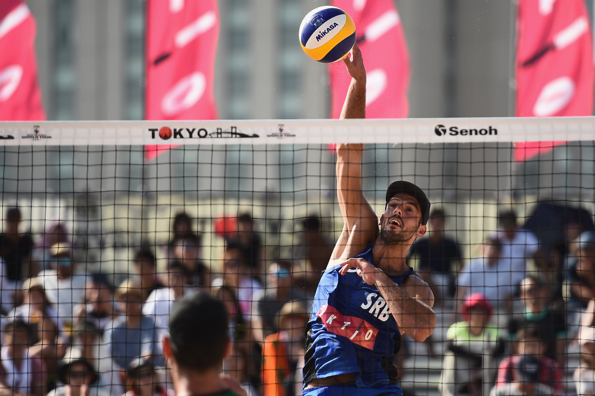 Serbia's Stefan Basta, pictured, and Lazar Kolaric, the second seeds, won their match today at the FIVB World Tour event in Qinzhou in straight sets against Turkey's Murat Giginoglu and Volkan Gogtepe ©Getty Images