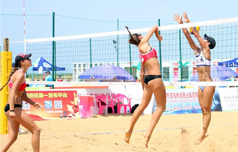 Ukraine's Diana Lunina and Maryna Samoday won the match of the day in the women's draw against Amanda Dowdy and Irene Pollock from the United States at the FIVB World Tour event in Qinzhou ©FIVB