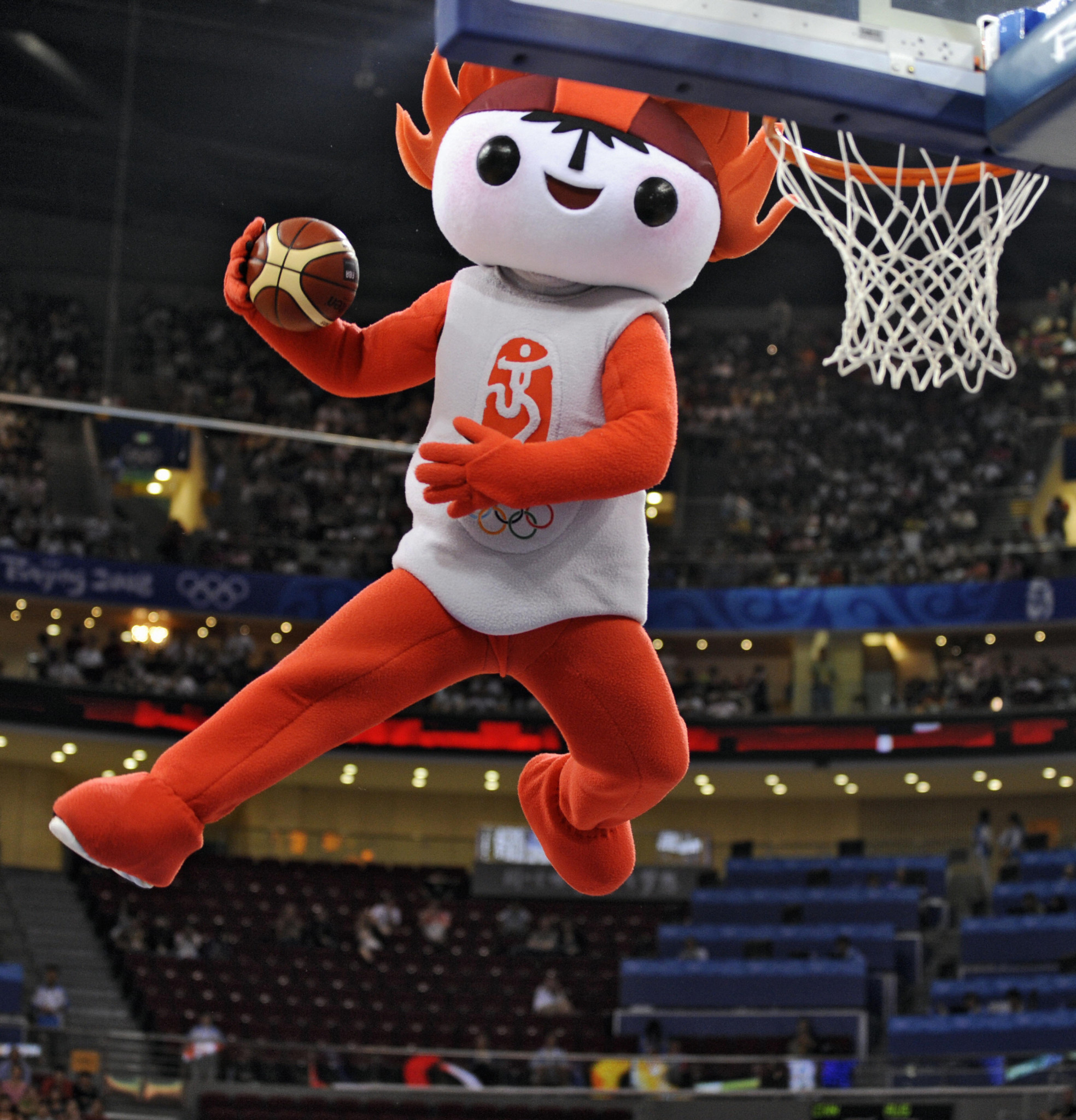 One of the Beijing 2008 mascots tries its hand at basketball ©Getty Images