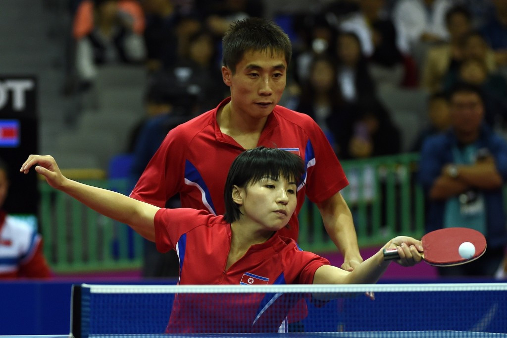 Kim Hyok-bong and Kim Jong look on course to successfully defend their mixed doubles crown in Suzhou