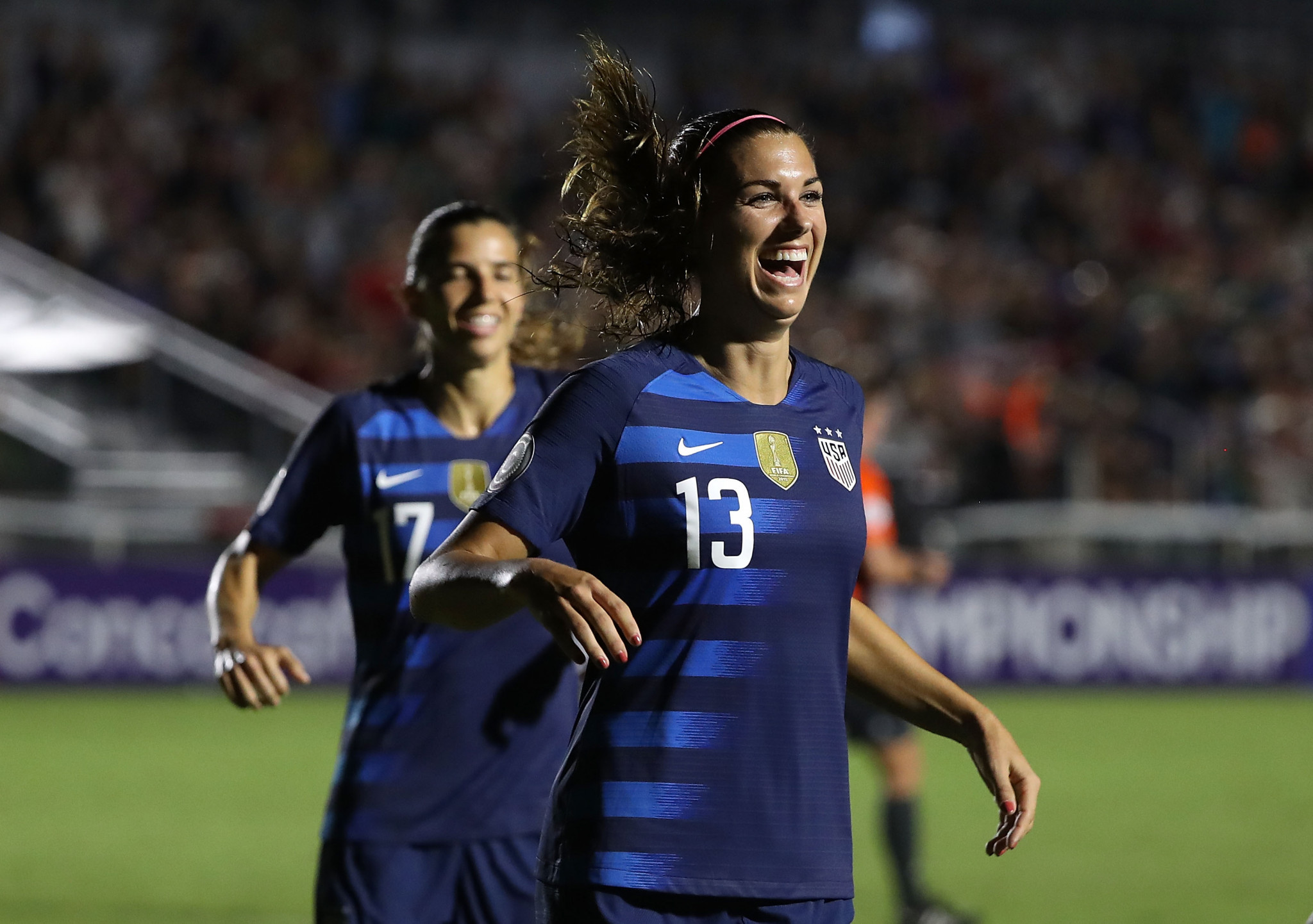 Alex Morgan of the United States celebrates scoring against Mexico, a game which her team won 6-0 ©Getty Images
