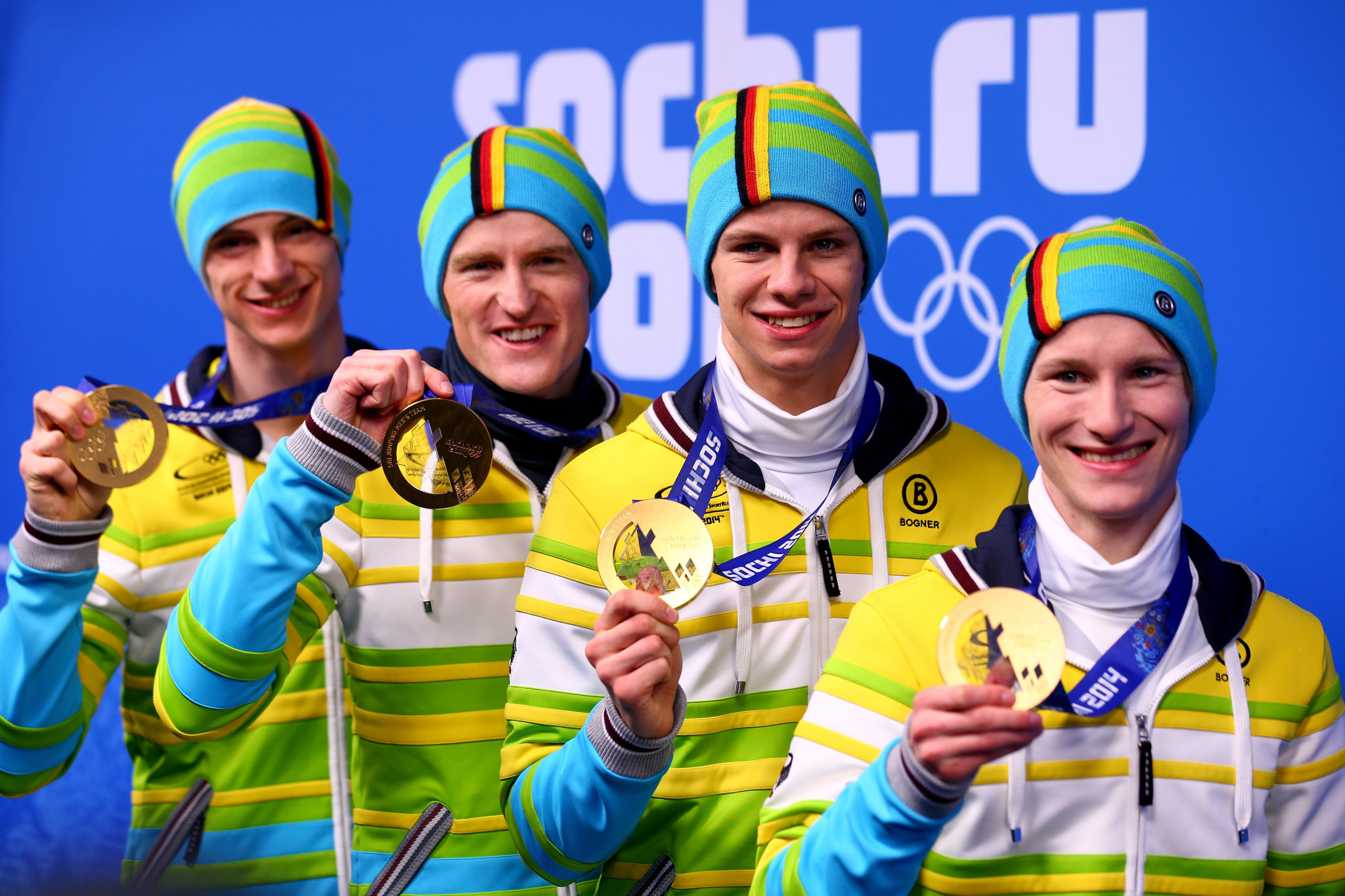 Severin Freund, left, won Olympic gold at Sochi 2014 in the men's team ski jumping event ©Getty Images