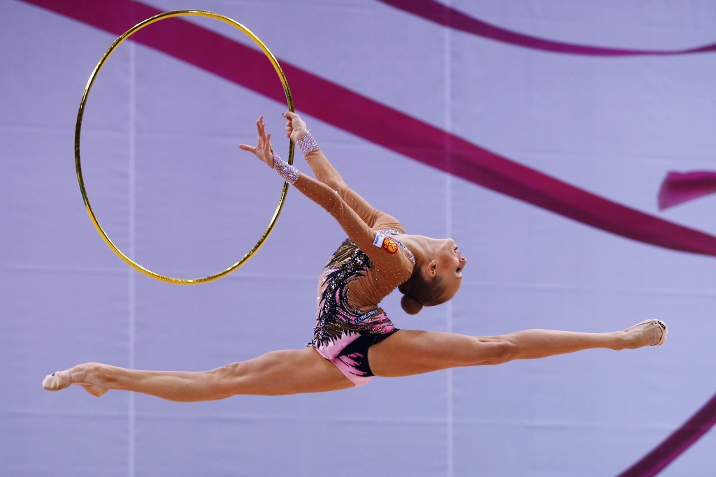 Yana Kudryavtseva looks set to steal the show at the European Rhythmic Gymnastics Championships in Minsk ©Getty Images