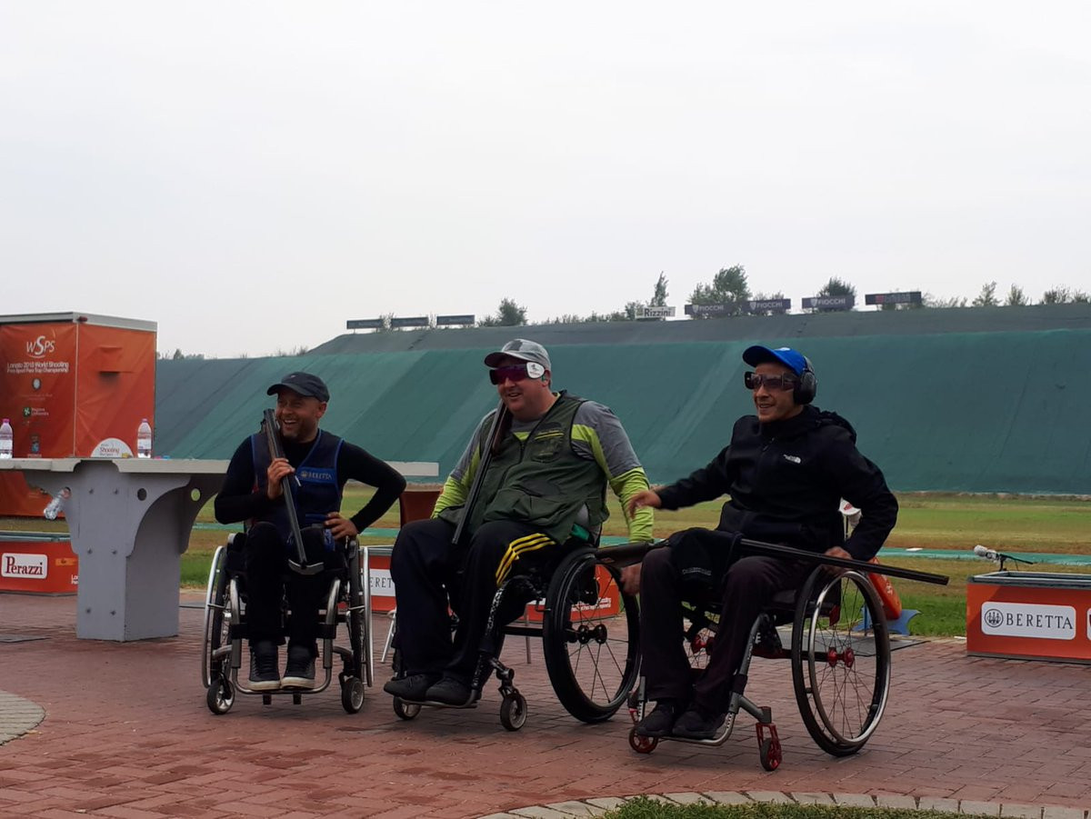 Brydon Scottie became one of the first champions of the Para-Trap Shooting World Championships in Lonato when he won the PT1 Trap Mixed Seated SG-S event with 36 points ©Shooting Para Sport