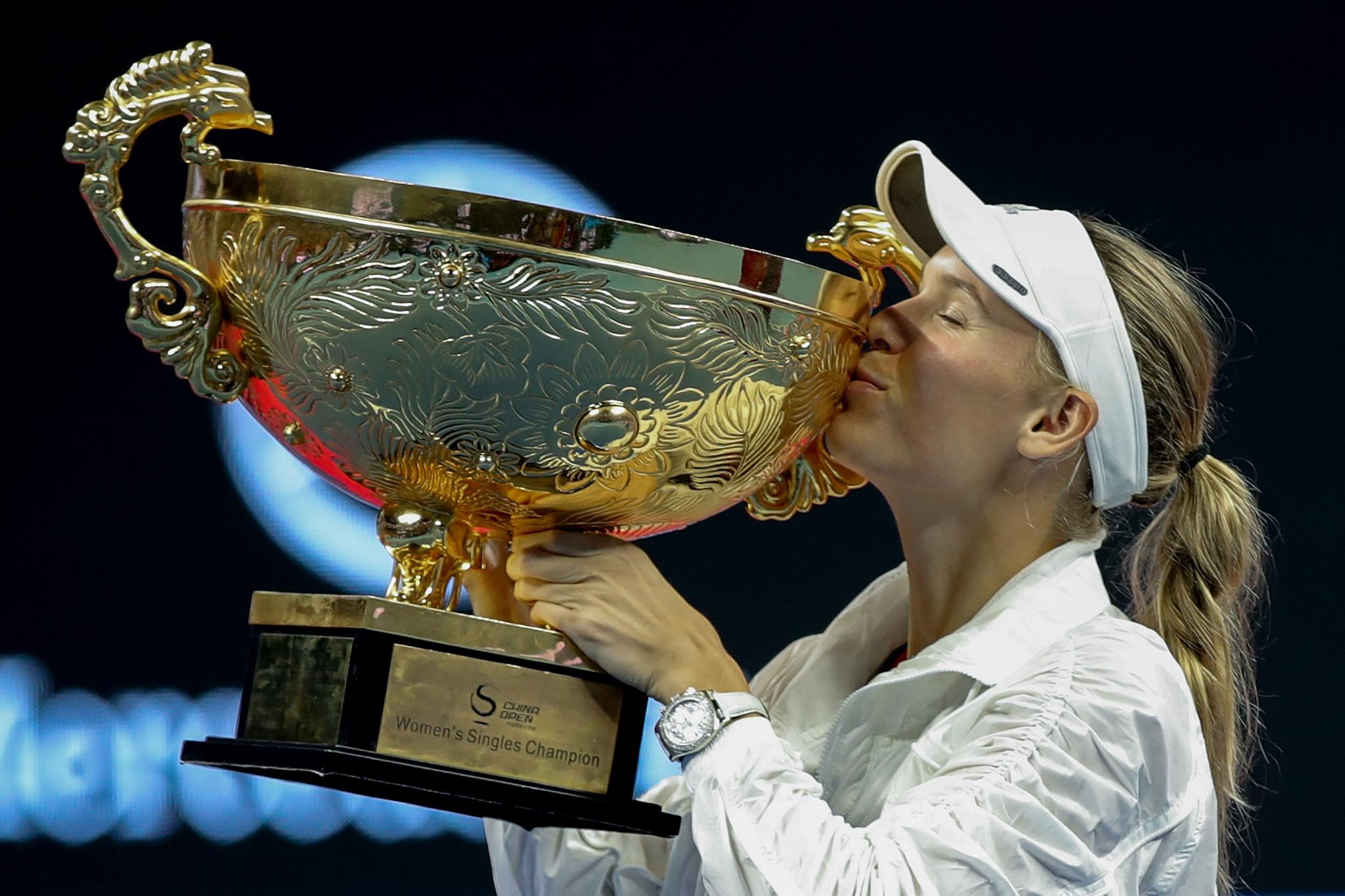 Caroline Wozniacki of Denmark celebrates winning the China Open after beating Latvia's Anastasija Sevastova ©Getty Images