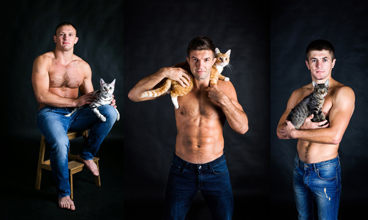 Sambo athletes take part in photo-shoot with cats to mark World Animal Day