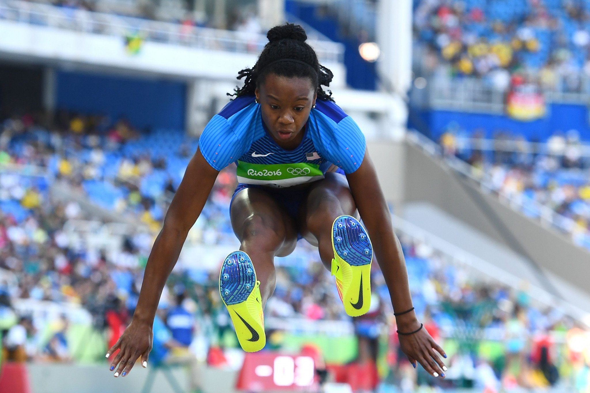 Keturah Orji, who has been nominated for the 2018 National Collegiate Athletic Association Woman of the Year award, competing in the 2016 Rio Olympics ©Getty Images