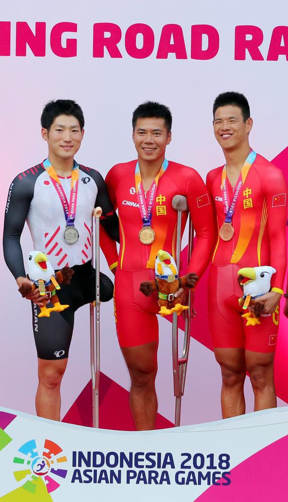 China took gold and bronze in yesterday's C1-2 men's time trial ©Asian Para Games