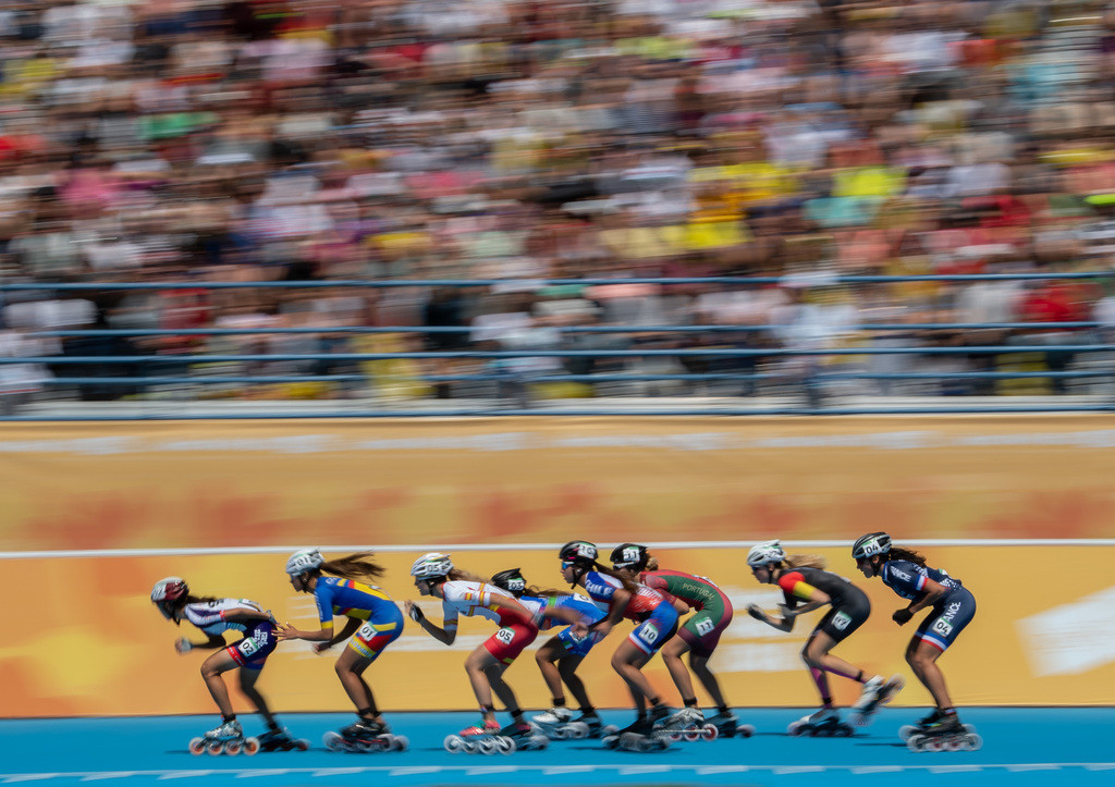 Roller speed skaters in action in the women's 1,000m combined event in the Summer Youth Olympic Games ©Buenos Aires 2018