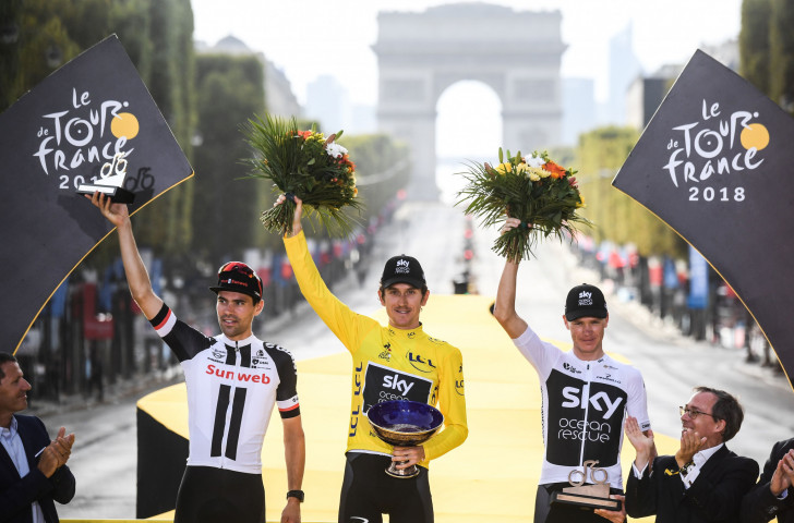 Team Sky's Geraint Thomas holds the now stolen Coupe Omnisports trophy after securing the Tour de France title in Paris on July 29 ©Getty Images