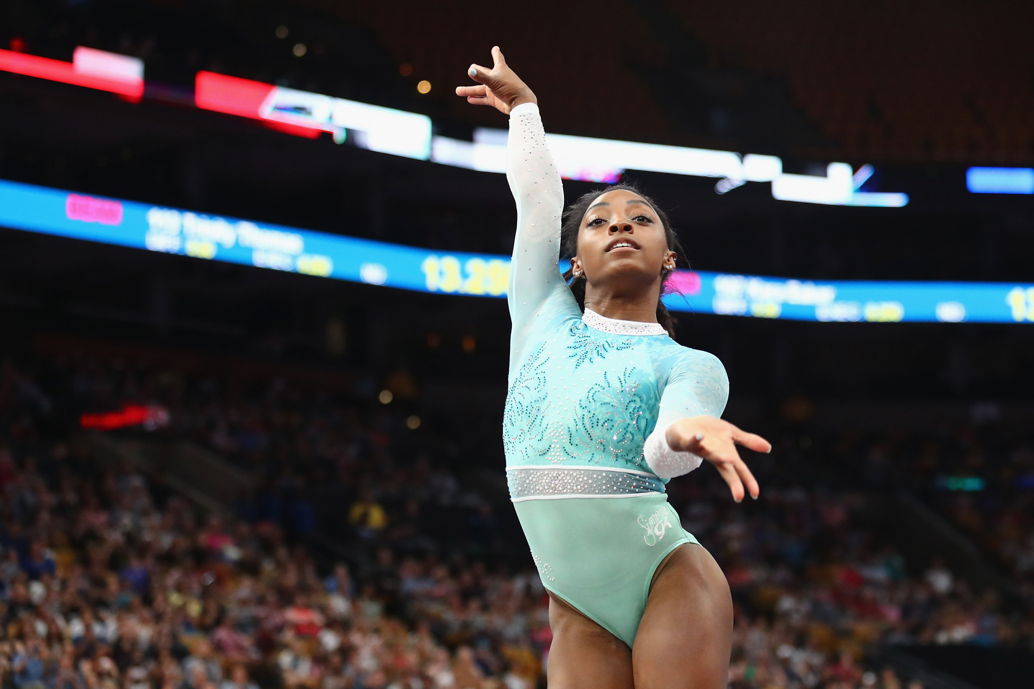 Simone Biles wore a teal leotard while competing at the United States national gymnastics championships in support of other sexual abuse victims ©Getty Images