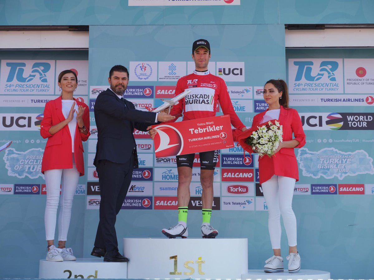Benat Txoperena performed well on the climbs to retain the red jersey going into stage four ©Tour of Turkey/Twitter
