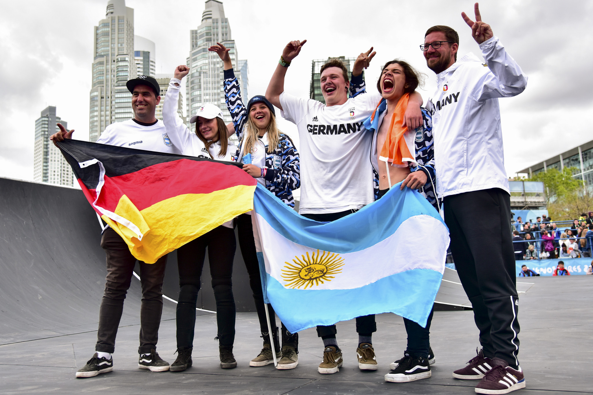 Argentina and Germany celebrate after the BMX freestyle finals ©Getty Images