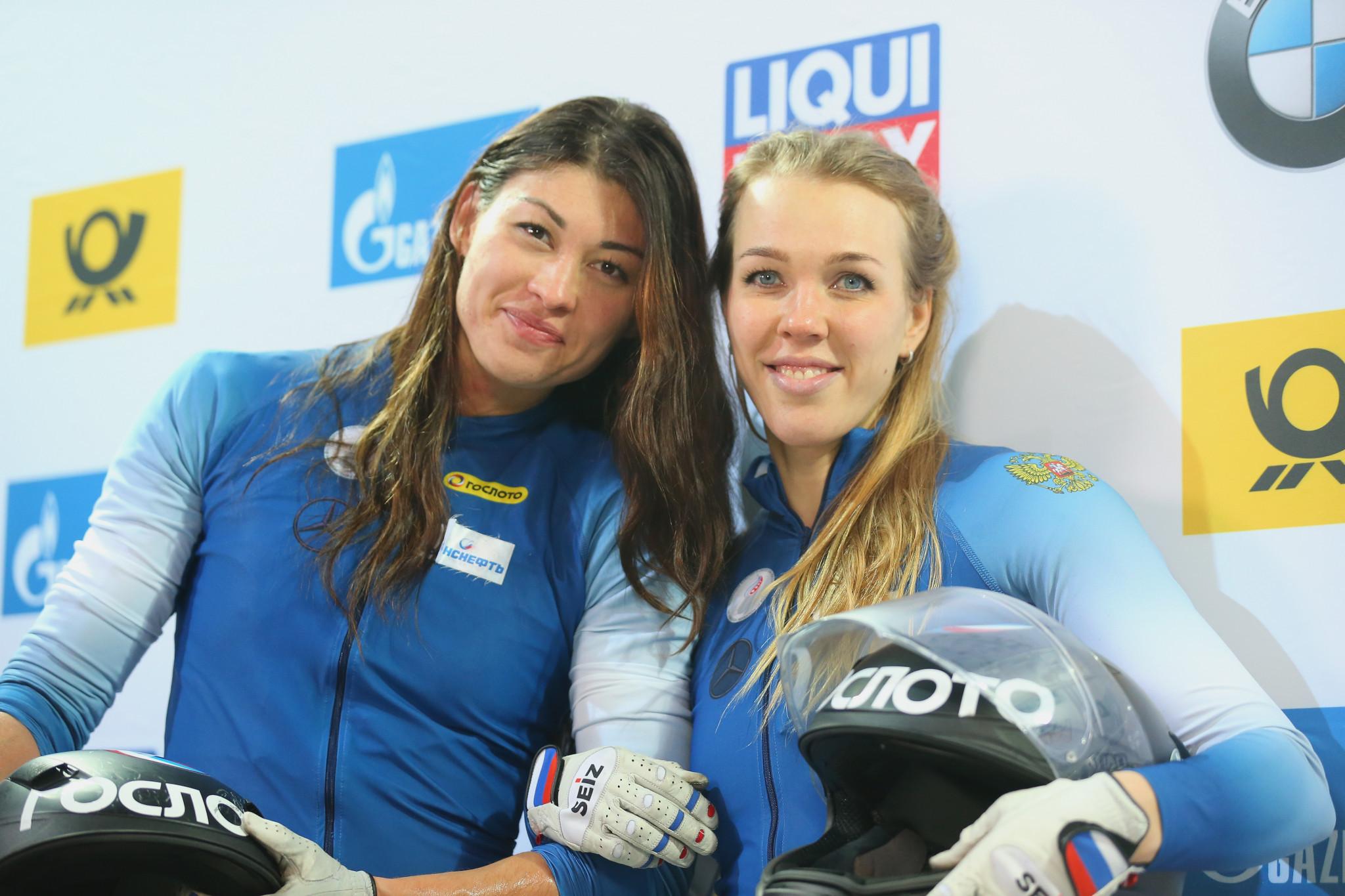 Nadezhda Sergeeva, right, failed a test at Pyeongchang 2018 ©Getty Images