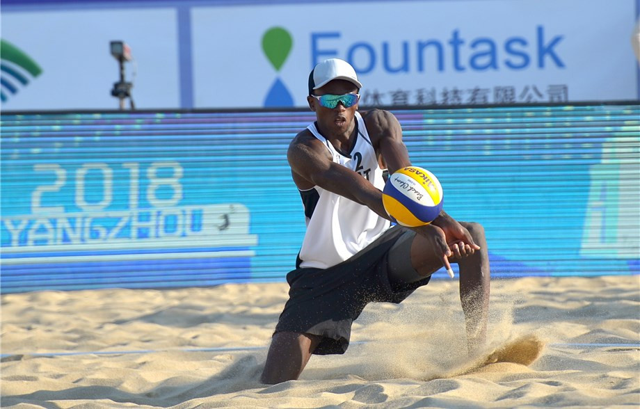 Qatar's Ahmed Tijan and Cherif Younousse, pictured, were among the pairings to book their place in round two of the men's competition as action continued today at the FIVB Yangzhou Open in China ©FIVB