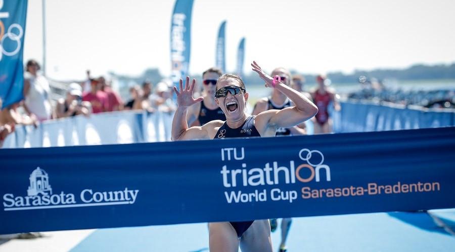 Renee Tomlin of the United States won the women's Sarasota-Bradenton triathlon race, her first World Cup event win of the year ©ITU Triathlon
