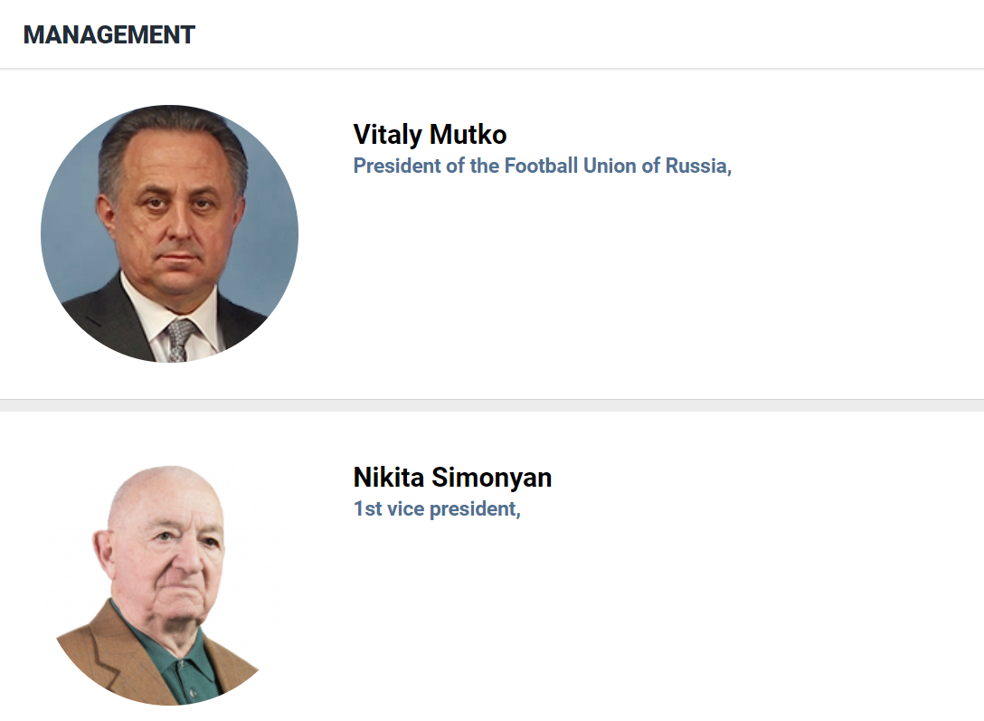 Vitaly Mutko is listed as the Russian Football Union's President on the national governing body's website ©RFU