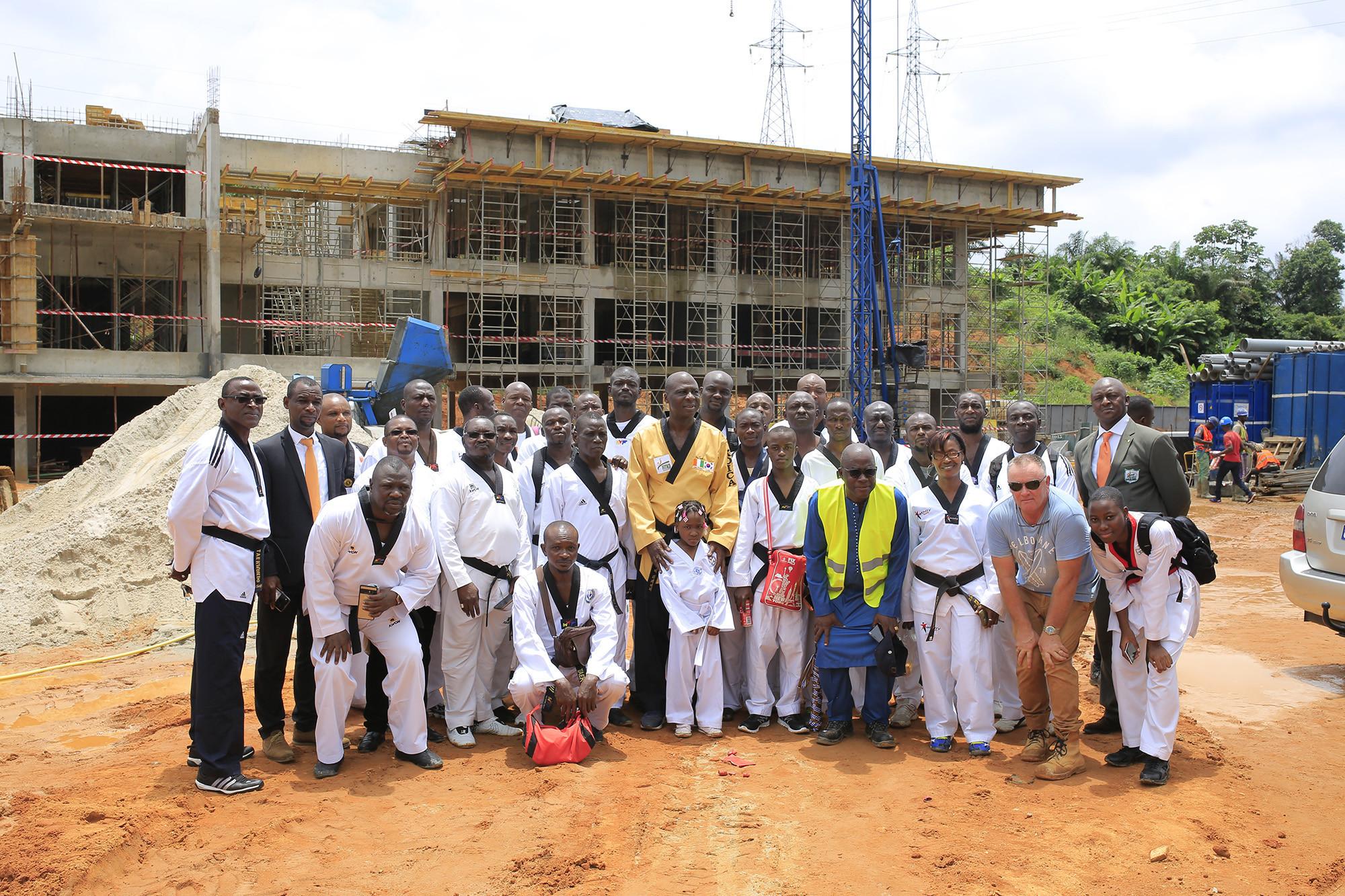 Officials in Ivory Coast inspect progress at new taekwondo facility