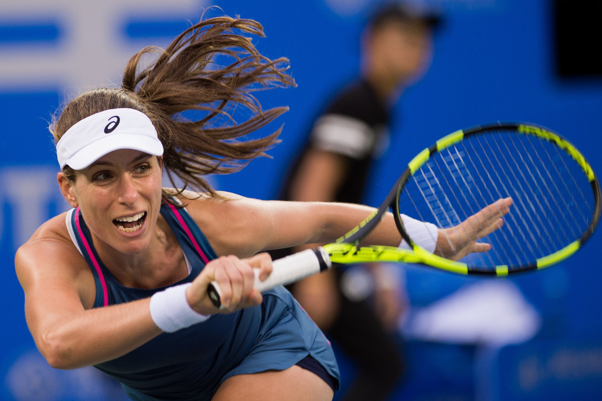Johanna Konta won her first round match at the WTA Kremlin Cup 6-3, 7-5 today against Elise Mertens ©Getty Images