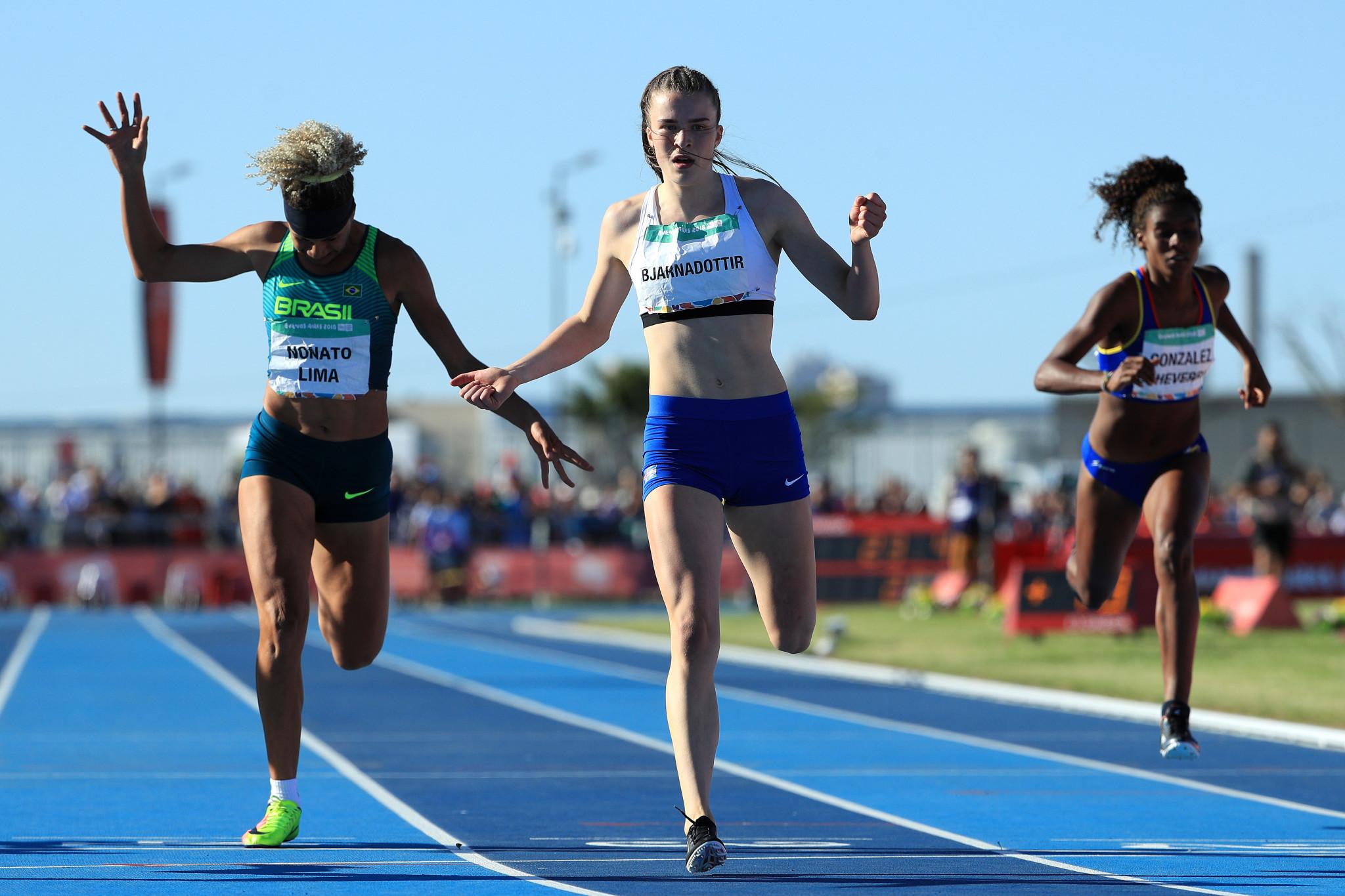 Iceland's Guðbjörg Bjarnadóttir won the women's 200m event ©Getty Images