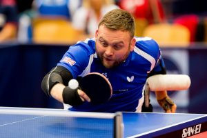 Paralympic champion Rob Davies was a convincing winner on day one of the 2018 ITTF Para World Championships ©British Para Table Tennis