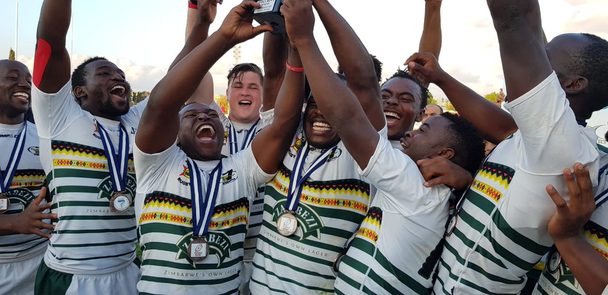 Zimbabwe celebrate winning the Rugby Sevens 2018 Africa Championship  ©Rugby Afrique