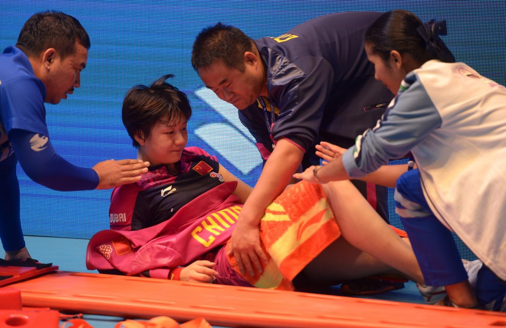 China's Chen Meng was forced to withdraw from the women's singles final through injury