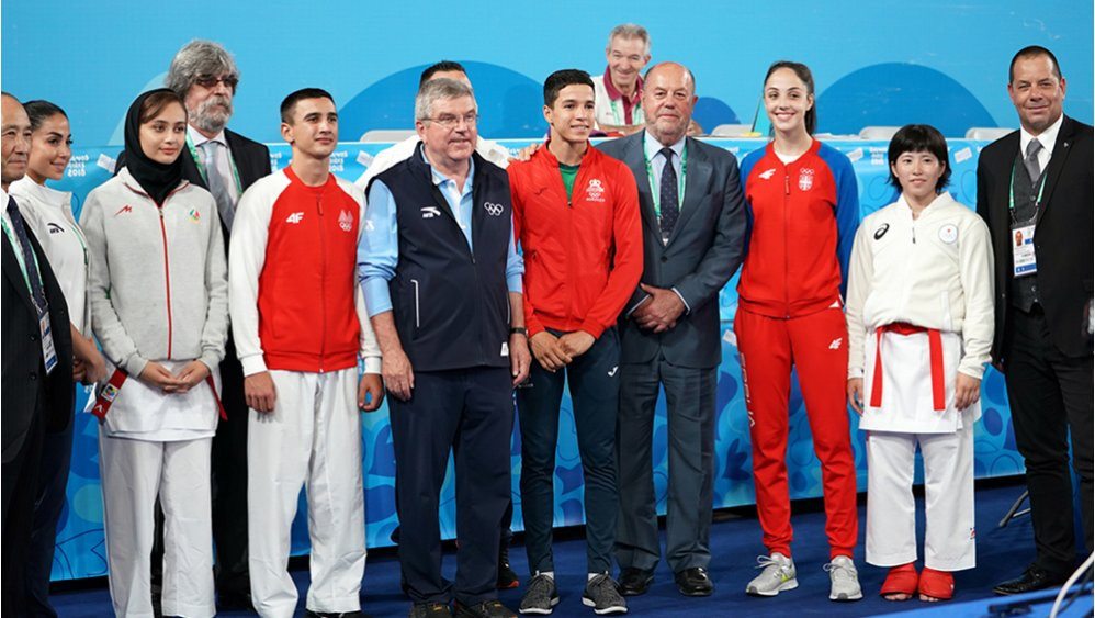 "Antonio Espinós said it was an ""honour"" to welcome International Olympic Committee counterpart Thomas Bach ©WKF"