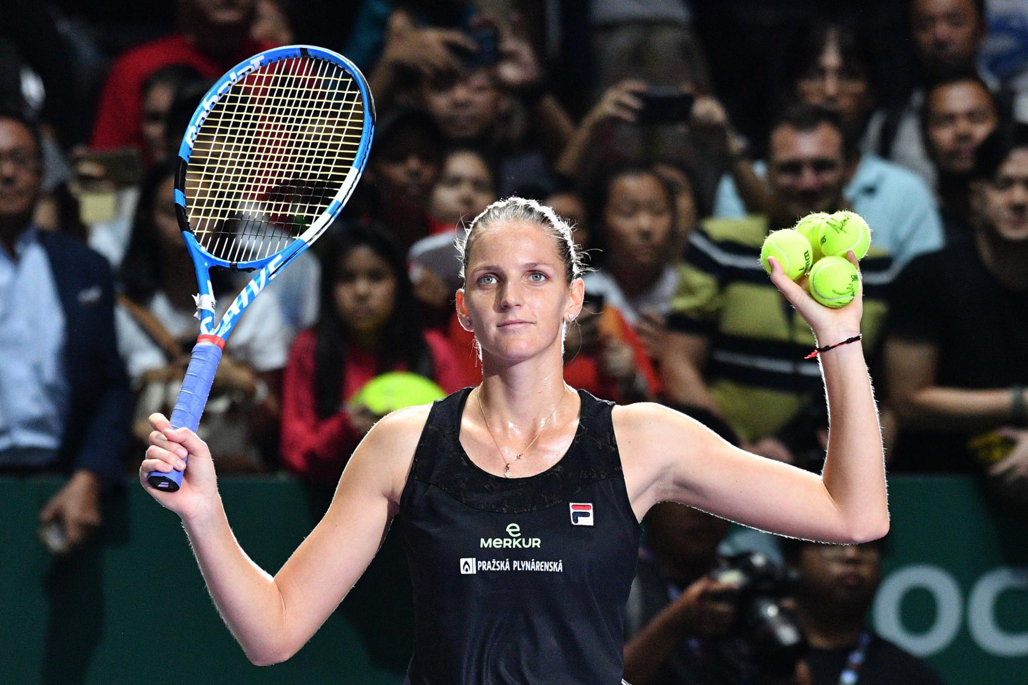 Karolína Plíšková of the Czech Republic celebrates beating Caroline Wozniacki of Denmark in the WTA Finals in Singapore ©Getty Images