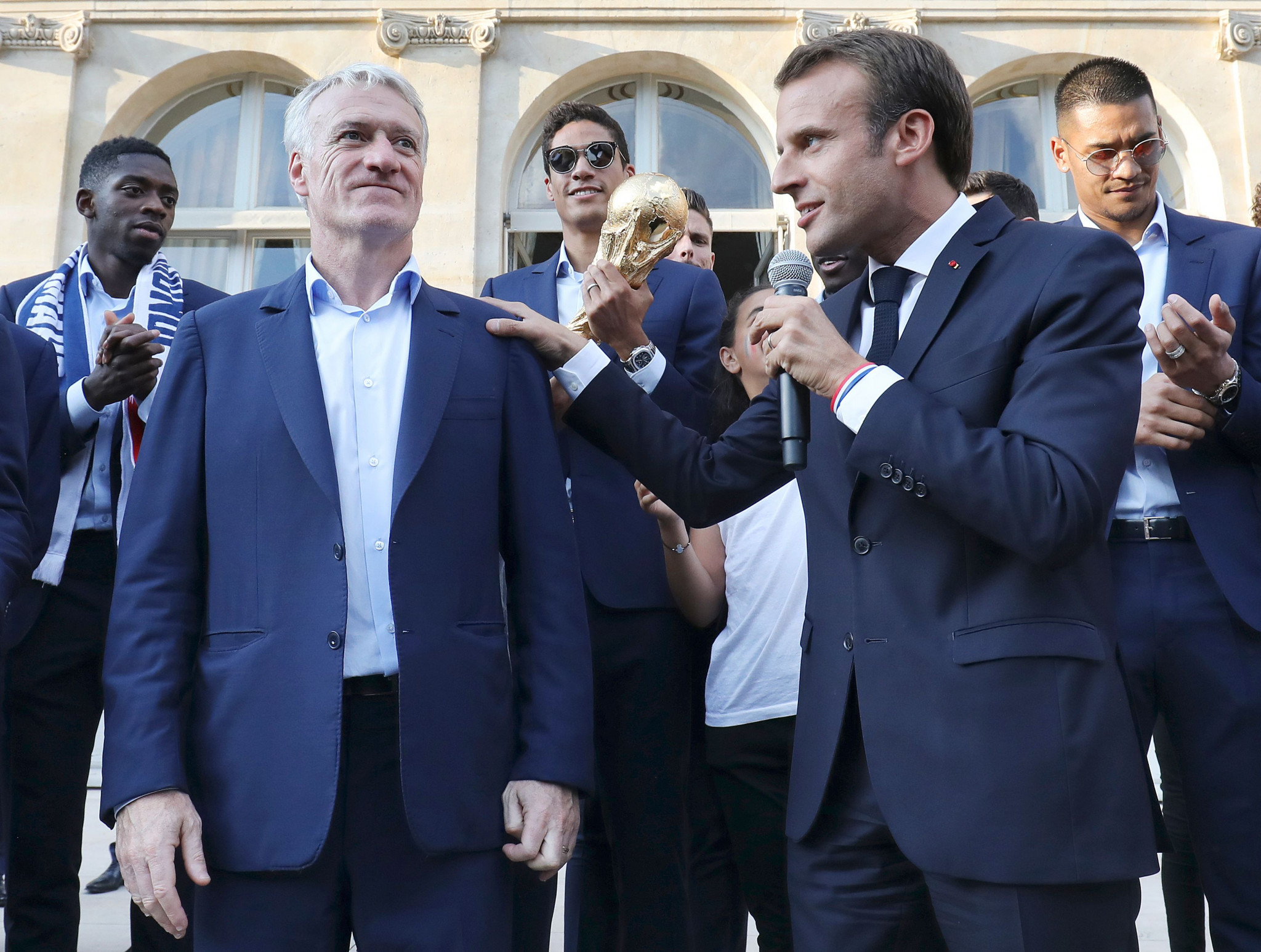 France's World Cup-winning player and manager Didier Deschamps, pictured here with French President Emmanuel Macron, received the first-ever SPORTEL Lifetime Sport Achievement Award ©Getty Images