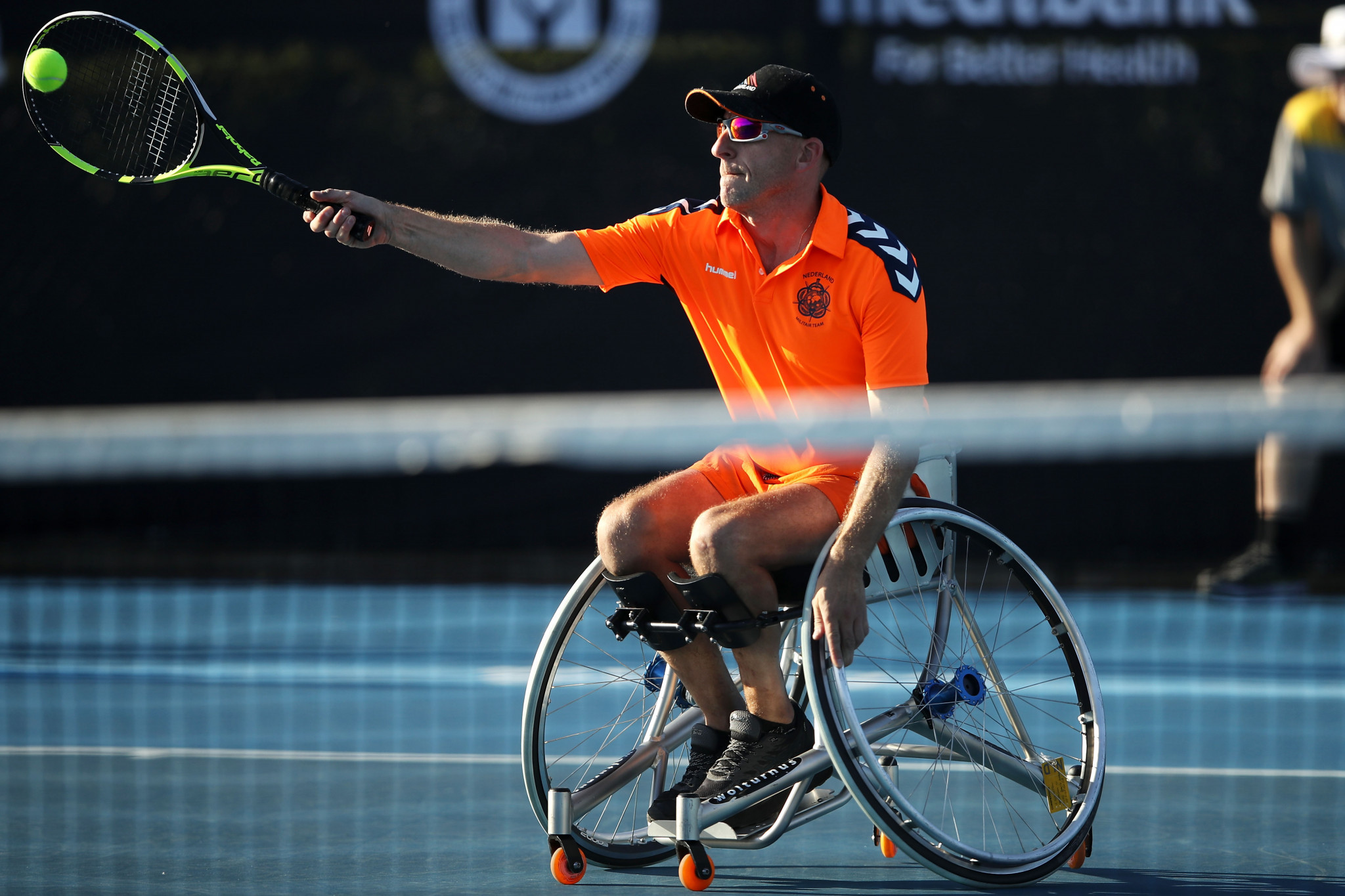 Edwin Vermetten of the Unconquered competing in the wheelchair tennis event on day four of the Invictus Games ©Getty Images