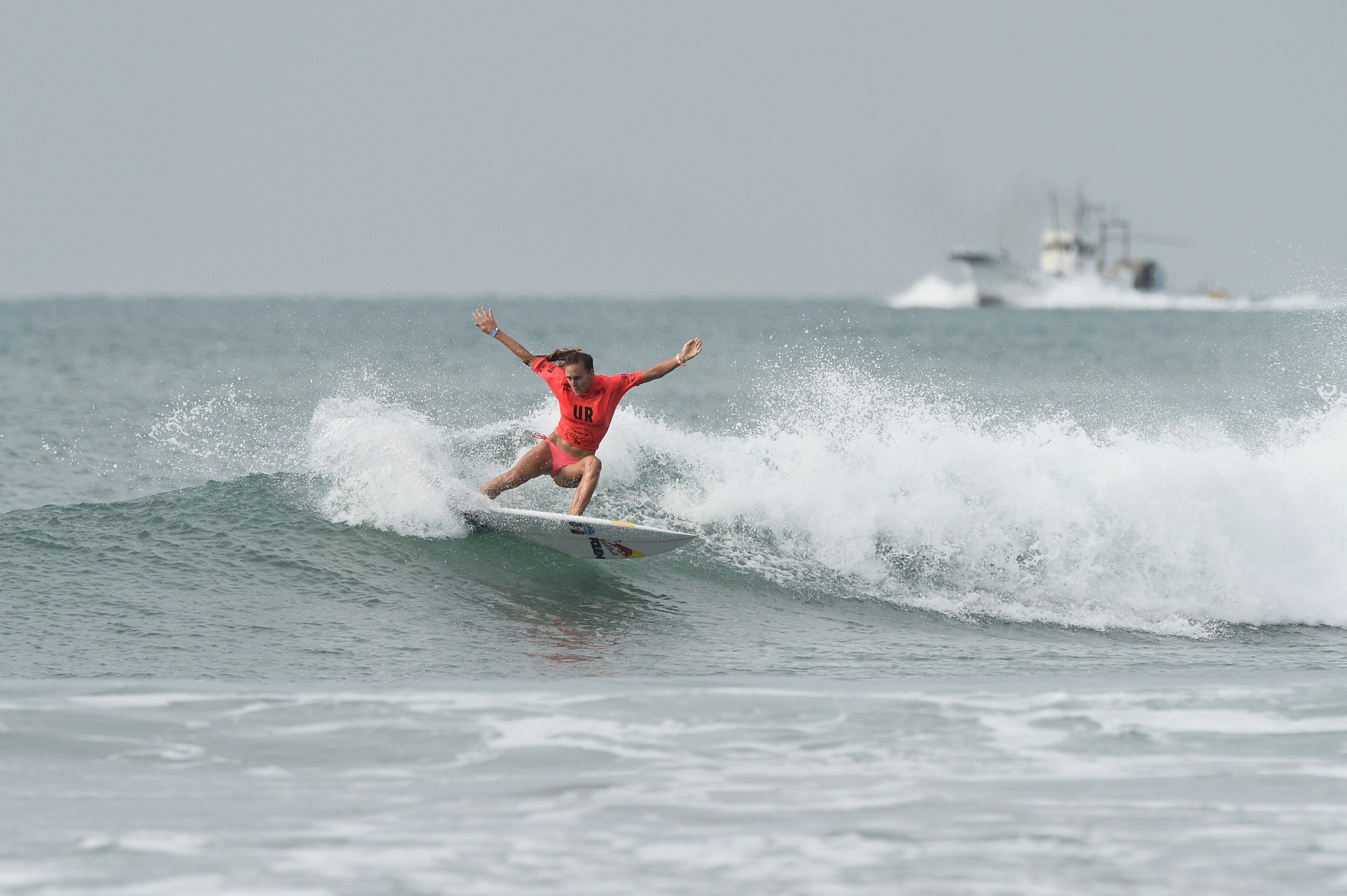 Justine Dupont competing at last month's World Surfing Games in Tahara, Japan ©Getty Images