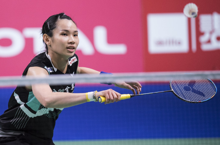 Chinese Taipei's world number one Tai Tzu-ying, pictured winning the BWF Denmark Open title on Sunday, won her first round match with ease at the BWF French Open in Paris today ©Getty Images