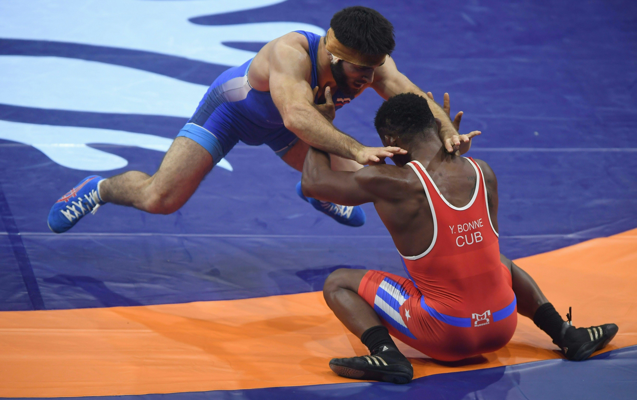 The incident occurred when Gadzhimurad Rashidov, blue, lost in the men's 61kg freestyle final ©Getty Images