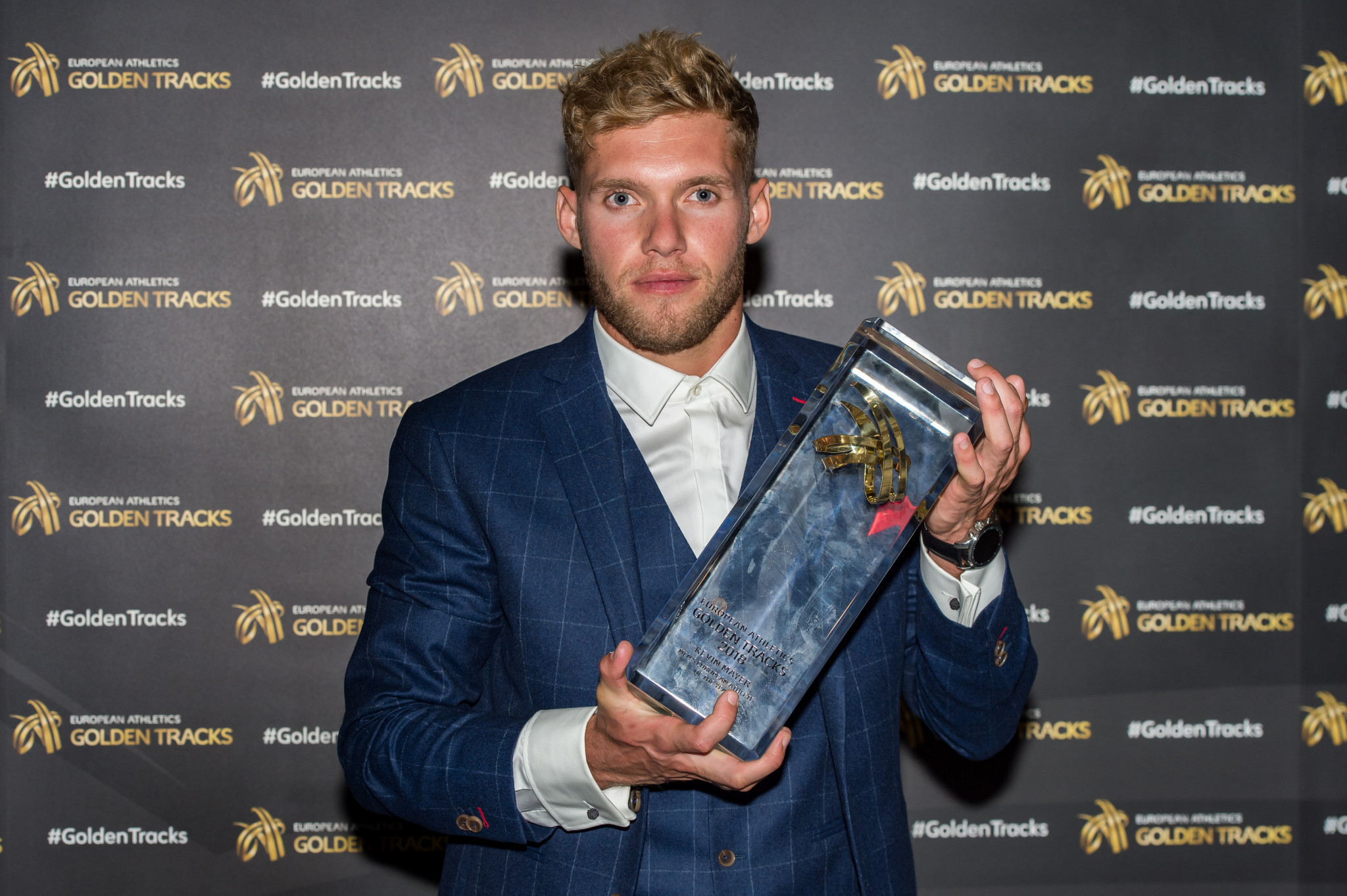 Kevin Mayer was named European Athlete of the Year at the Golden Tracks award ceremony, with Dina Asher-Smith winning the women's award ©Getty Images