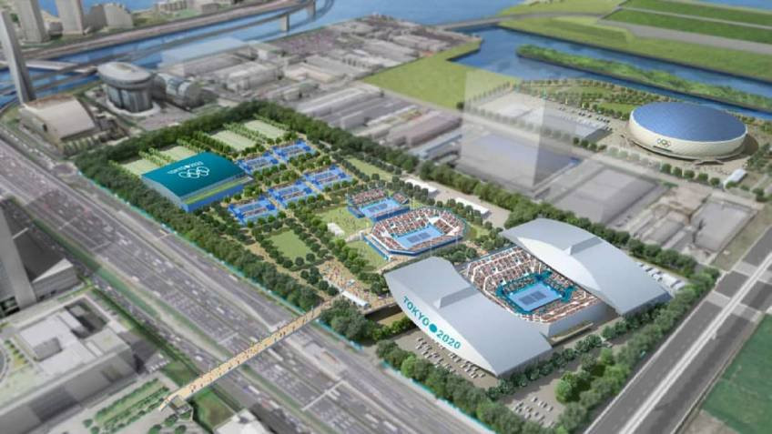 The proposed plan for the Ariake Tennis Centre in Tokyo, where renovations have currently been suspended due to the collapse of the contractor ©Tokyo 2020