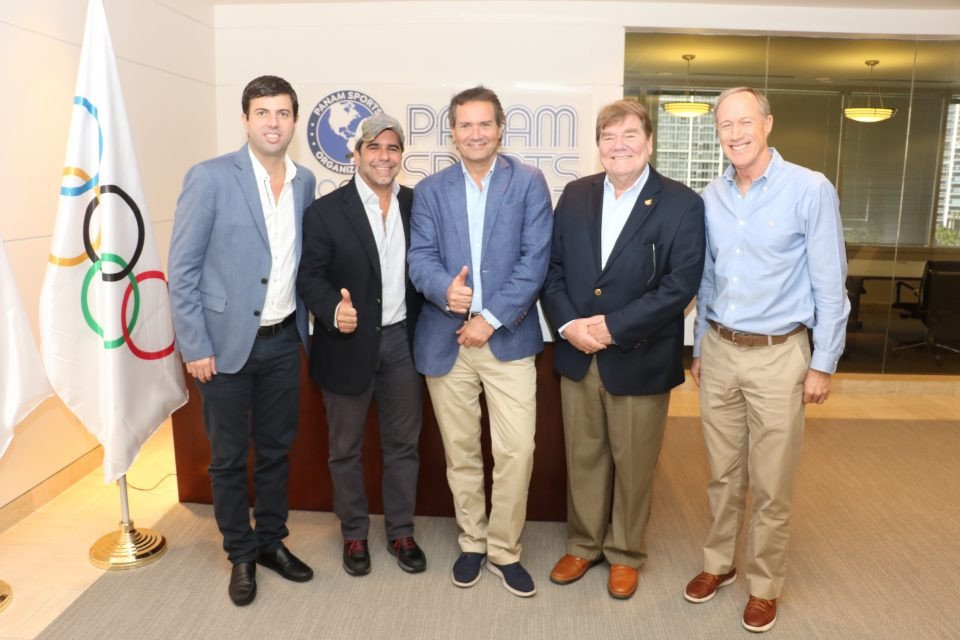Barranquilla Mayor Alejandro Char, second left, visited Panam Sports offices in Miami ©Panam Sports