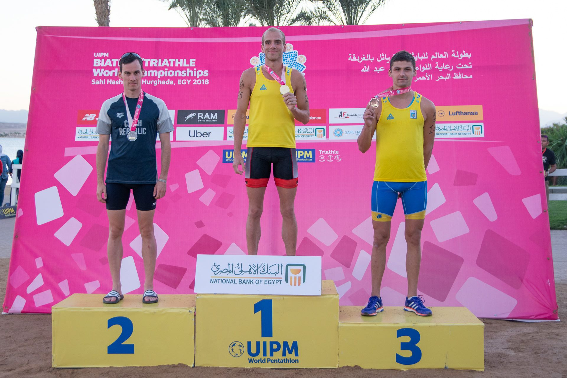 Oleksandr Tovkai of Ukraine won gold in the triathle event at the International Modern Pentathlon Union World Biathle-Triathle Championships in Hurghada, with Ondrej Svechota of the Czech Republic in second and Dmytro Baliuk of Ukraine in third ©UIPM