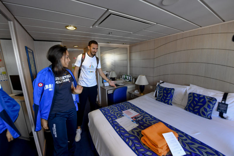 Former taekwondo Olympian Mauro Sarmiento of Italy and compatriot fencer Rebecca Gargano toured the cruise ship which will be part of the Athletes' Village for the 2019 Universiade in Naples ©FISU