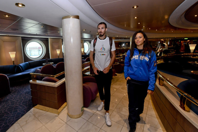 A delegation toured the cruise ship which will host 2,000 athletes at the 2019 Universiade in Naples ©FISU