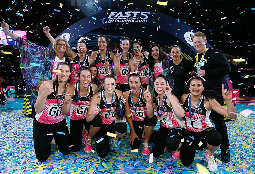 New Zealand celebrate winning the Fast5 Netball World Series after beating Jamaica 34-33 at Melbourne Arena ©Fast5 World Series