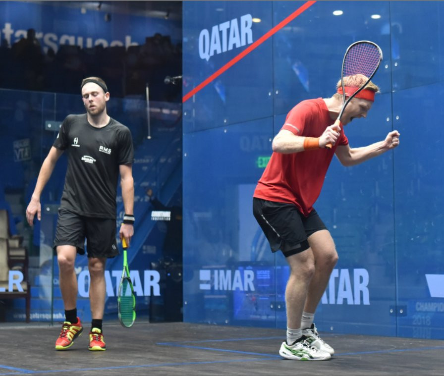Tom Richards of England celebrates beating Ryan Cuskelly of Australia at the PSA Qatar Classic in Doha ©Qatar Classic